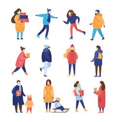 people wintertime activities flat vector image
