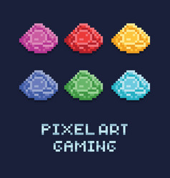 pixel art style set of ore vector image
