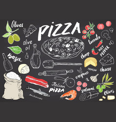 pizza menu hand drawn sketch set pizza vector image
