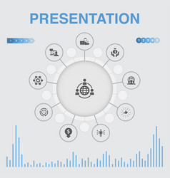 Presentation infographic with icons contains vector