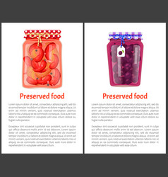Preserved food canned plums and pickled red pepper vector