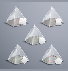 Pyramid tea bags realistic set vector