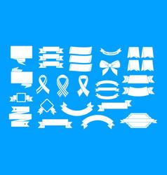 ribbon icon blue set vector image