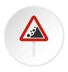 Rockfall traffic sign icon circle vector