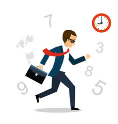 running after time vector image