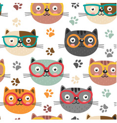 Seamless pattern with cute faces cats vector