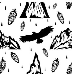 seamless pattern with mountains and eagles vector image