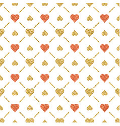 seamless valentines pattern with golden vector image