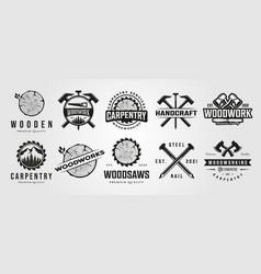 set carpentry woodwork vintage logo craftsman vector image