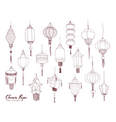 set of chinese paper street lanterns of different vector image