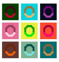 Set pixel icons of pretzel vector