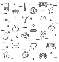 Set video game entertaining items symbols vector