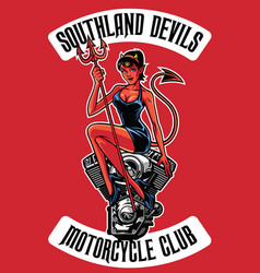 sexy devil with motorcycle engine vector image