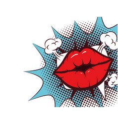 Sexy woman mouth with splash expression pop art vector
