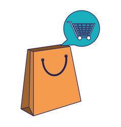 shopping bag and cart bubble blue lines vector image