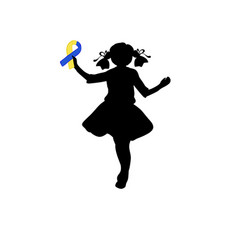silhouette girl with yellow blue ribbon world vector image