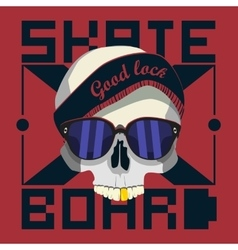 skull skateboard design work vector image