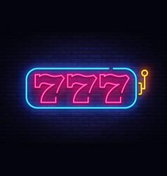 Slot machine neon sign 777 slot machine vector