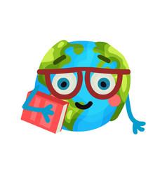 smart cartoon funny earth planet emoji wearing vector image
