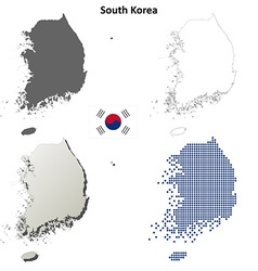 South Korea outline map set vector