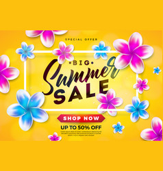 summer sale design with flower and typography vector image