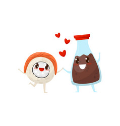 Sushi roll and soy sauce bottle are friends vector