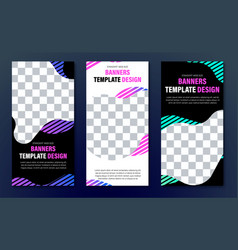 Templates of vertical web banners of black color vector