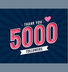 Thank you 5000 social media followers template vector