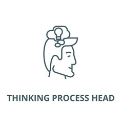 thinking process head line icon linear vector image