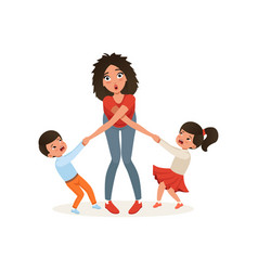 Tired mother with her capricious children vector