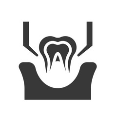 Tooth extraction sign dental related solid icon vector