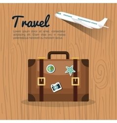 Travel suitcase retro airplane design vector