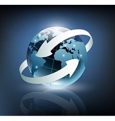 two arrows wrapped around earth vector image