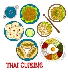 Vegetarian dinner of thai cuisine sketch icon vector image