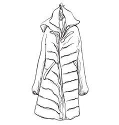 Woman coat for winter Clothes sketch vector