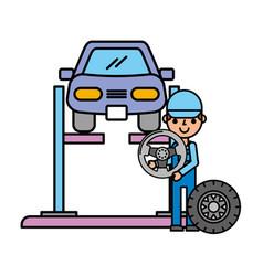 worker car lift wheel automotive service vector image