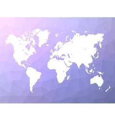 World map silhouette on blue-violet low poly vector