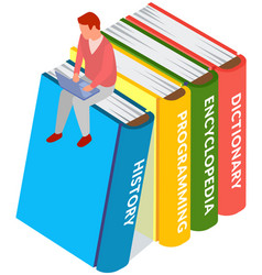 young man sitting on stack large books vector image