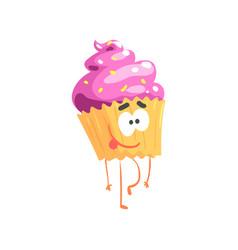 cute sweet cupcake character cartoon funny vector image