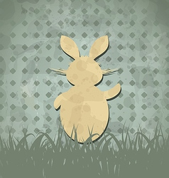 Easter happy vintage poster with rabbit and grass vector image