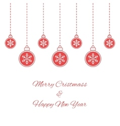 Hanging red baubles with snowflakes vector image vector image