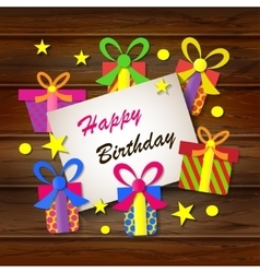 Happy birthday Greeting card Gift boxes on a vector image
