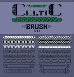 set of brushes in celtic style elements of vector image
