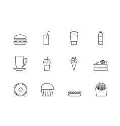 snacks desserts and beverage outline icon set vector image