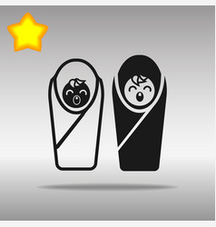 Two baby black icon button logo symbol concept vector