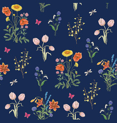 wildflowers background vector image vector image