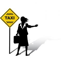 woman wait taxi vector image vector image