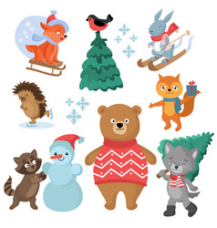 christmas and winter holiday funny animals vector image vector image