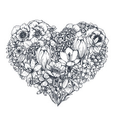 floral heart bouquet with hand drawn spring vector image
