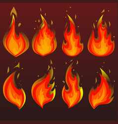 set of red fire icons flames vector image